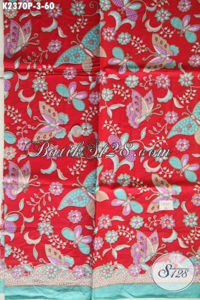 Batik Solo Halus Motif Bunga Nan Istimewa, Kain Batik Printing Dasar Merah Bahan Pakaian Wanita Tampil Modis Mempesona
