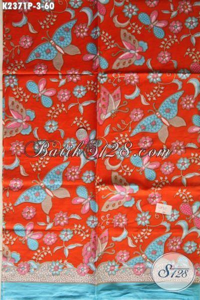 Batik Kain Orange Motif Bunga Dan Kupu, Batik Printing Modis Bahan Pakaian Cewek Harga Murmer
