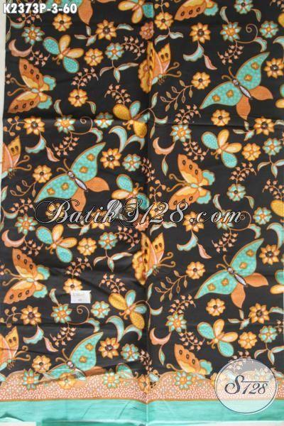 Sedia Kain Batik Dasar Hitam Motif Bunga Dan Kupu Proses Print, Batik Murmer Kwalitas Bagus Modis Untuk Blus Dan Dress