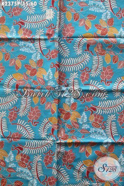 Sedia Pakaian Batik Biru Motif Bunga Proses Printing, Produk Bati Kain Solo Proses Printing Bahan Aneka Busana Wanita Dan Pria Untuk Tampil Modis