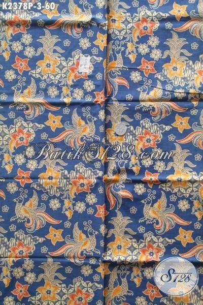 Batik Keren Halus Dasar Biru, Batik Printing Motif Unik Bahan Kemeja Cowok Dan Blus Wanita Muda