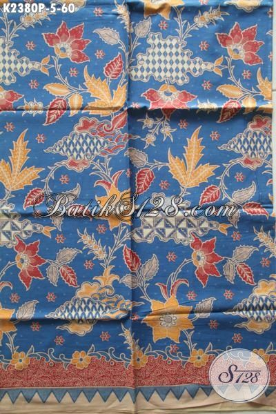 Batik Kain Motif Bunga Proses Printing, Batik Solo Halus Dasar Biru Bahan Pakaian Berkelas Untuk Penampilan Lebih Trendy Dan Mempesona