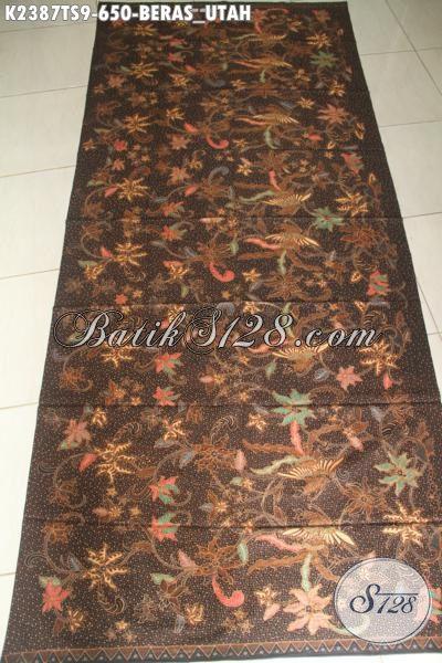 Agen Produk Batik Solo Jawa Tengah Online, Sedia Kain Batik Premium Harga 600 Ribuan Bahan Busana Istimewa Para Executive Dan Pejabat Kwalitas Halus Proses Tulis Soga Motif Beras Utah [K2387TS-240x110cm]