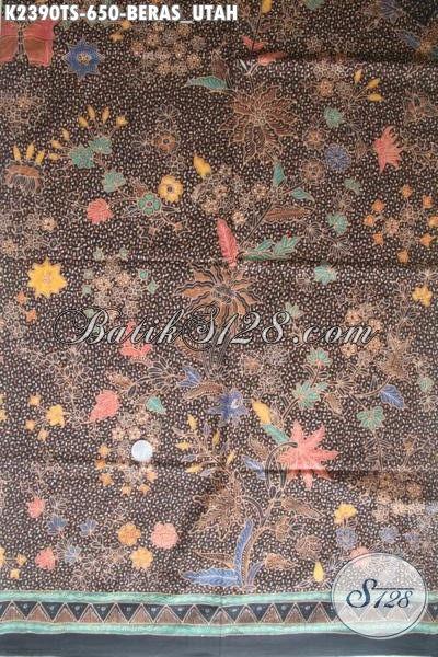 Kain Batik Halus Buatan Solo Proses Tulis Soga Nan Mewah, Batik Klasik Mewah Motif Beras Utah Cocok Untuk Busana Formal Nan Elegan
