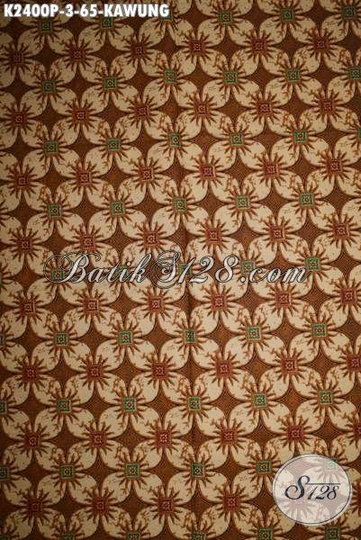 Jual Batik Kain Halus Proses Printing Motif Kawung, Batik Klasik Bahan Baju Kerja Tampil Elegan Dan Menawan