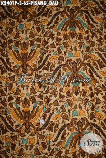 Batik Klasik Solo Motif Pisang Bali, Kain Batik Murmer Kwalitas Mewah Khas Jawa Tengah Istimewa Untuk Seragam Kerja [K2401P-200x105cm]