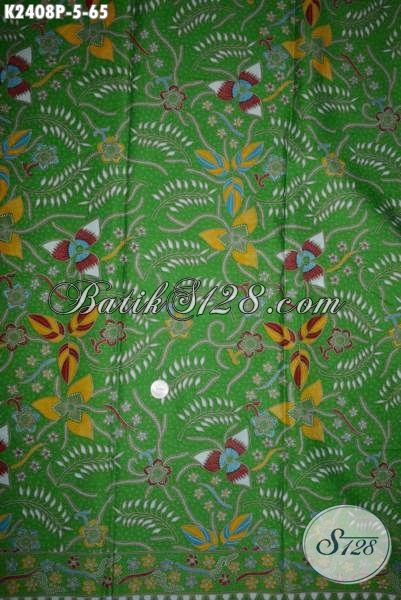Agen Batik Online, Jual Kain Batik Modern Koleksi Terbaru 2016, Kwalitas Bagus Motif Keren Dasar Hijau Modis Untuk Dress