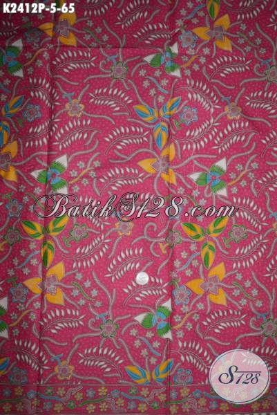 Batik Kain Solo Terkini, Hadir Dengan Kwalitas Istimewa Motif Bagus Proses Printing Dengan Warna Merah Jambu, Modis Buat Busana Kerja Wanita Karir [K2412P-200x105cm]