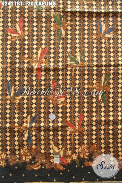 Toko Batik Online, Jual Kaini Batik Motif Capung Warna ELegan Klasik, Cocok Untuk Busana Kemeja Pria Proses Kombinasi Tulis