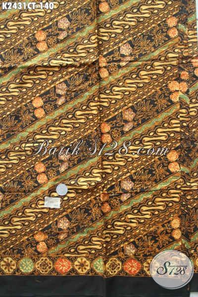 Jual Online Kain Batik Parang Bunga, Batik Solo Halus Bahan Hem Pria Proses Cap Tulis Harga 100 Ribuan [K2431CT-200x110cm]