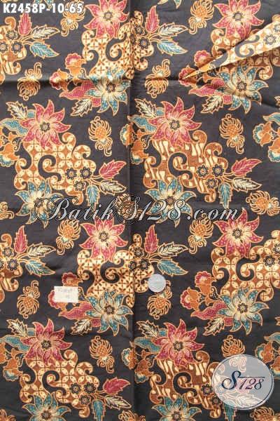 Kain Bati Istimewa, Batik Halus Proses Printing Motif Bunga Dasar Hitam Bahan Blus Dan Dress, Di Jual Online 65K [K2458P-200x110cm]