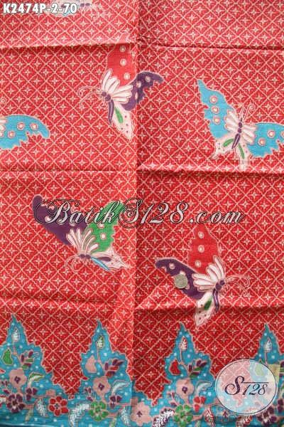 Pusat Batik Online Jual Kain Batik Merah Motif Kupu, Kain Batik Halus Adem Bahan Busana Wanita Untuk Terlihat Istimewa [K2474P-240x105cm]