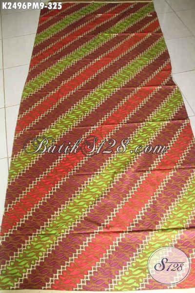 Jual Online Kain Batik Bahan Busana Kerja Pria, Batik Elegan Motif Parang Proses Kombinasi Tulis, Modis Juga Untuk Busana Wanita Dewasa [K2496PM-240x110cm]