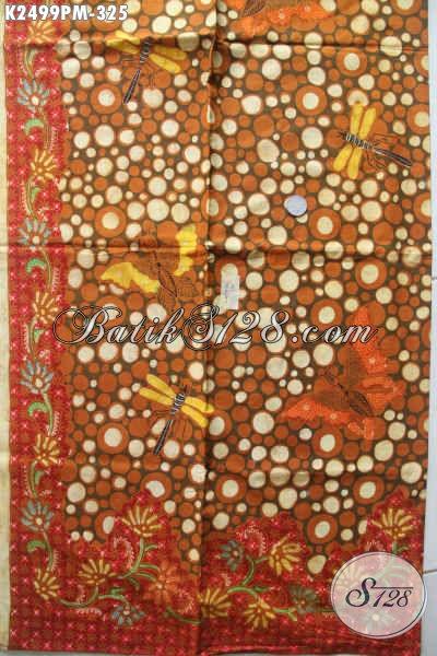 Kain Batik Elegan Halus Motif Capung, Batik Solo Spesial Untuk Baju Santai Dan Formal Proses Kombinasi Tulis Hanya 325K [K2499PM-240x110cm]