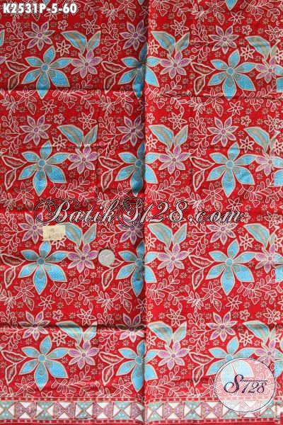 Batik Kain Bahan Dress, Batik Halus Dasar Merah Motif Bunga Harga 60K Kwalitas Bagus
