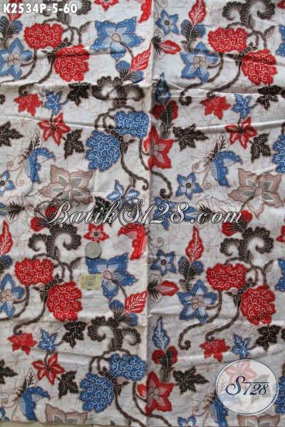 Produk Kain Batik Terkini Motif Bunga, Batik Istimewa Bahan Pakaian Wanita Muda Dan Dewasa Proses Printing Harga 60K