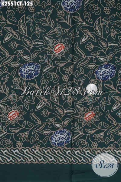 Kain Batik Hijau Motif Modern Klasik, Batik Halus Buatan Solo Proses Cap Tulis Untuk Busana Wanita Dan Pria Tampil Mempesona