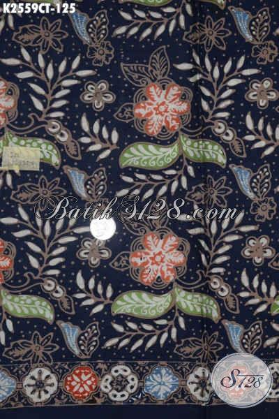 Sedia Kain Batik Warna Biru Donker Bahan Busana Wanita Dan Pria Terkini Dengan Motif Paling Baru Kwalitas Halus Proses Cap Tulis [K2559CT-200x110cm]