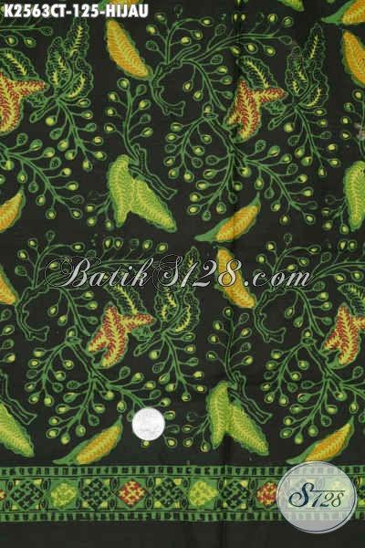 Kain Batik Dasar Hijau, Batik Solo Halus Motif Trendy, Batik Cap Tulis Istimewa Harga 125K [K2563CT-200x110cm]