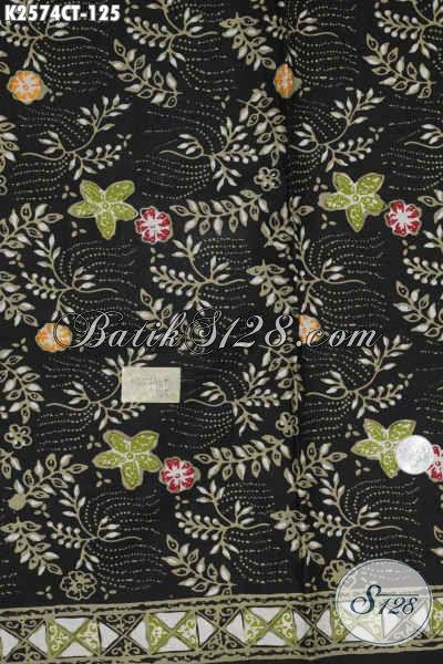 Batik Kain Dasar Hitam, Batik Halus Bahan Baju Santai Motif Unik Proses Cap Tulis Kwalitas Istimewa Hanya 120 Ribuan [K2574CT-200x110cm]
