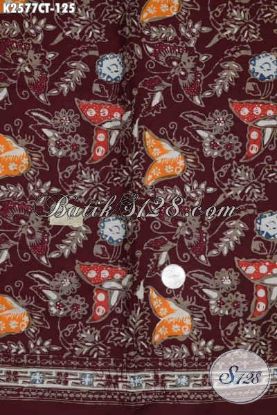 Pusat Batik Solo Online, Jual kain Batik Merah Marun Motif Kupu Bahan Blus Wanita Muda Dan Dewasa Untuk Tampil Beda