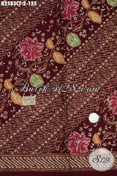 Kain Batik Keren Dan Elegan Warna Merah Motif Mewah, Produk Batik Solo Istimewa Proses Cap Tulis Untuk Penampilan Lebih Berwibawa Serta Menawan [K2583CT-200x110cm]