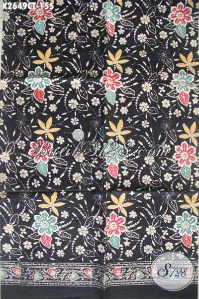Kain Batik Dasr Hitam Dengan Motif Kekinian, Batik Halus Bahan Blus Wanita Karir, Modis Juga Baut Busana Santai [K2649CT-200x110cm]