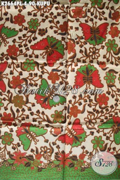 Batik Solo Motif Kupu Warna Elegan Dan Berkelas, Bahan Baju Wanita Kerja Dan Satai Proses Print Lasem Harga Di Bawah 100k [K2664PL-240x110cm]