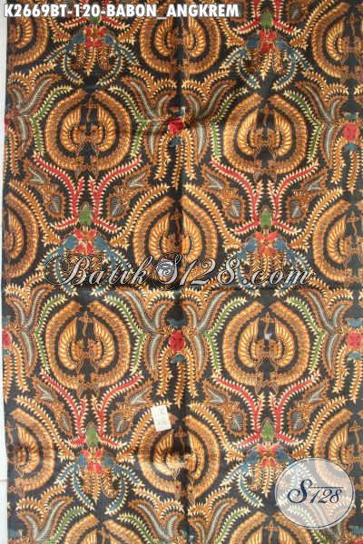 Kain Batik Klasik Motif Babon Angkrem, Batik Istimewa Bahan Baju Formal Proses Kombinasi Tulis Asli Buatan Solo [K2669BT-240x105cm]