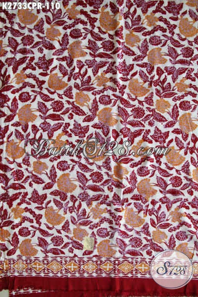 Kain Batik Merah Halus Motif Bunga Bahan Paris Cocok Untuk Busana Wanita Proses Cap