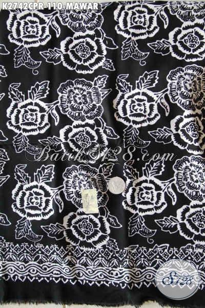 Batik Elegan Dasar Hitam Motif Mawar, Produk Batik Paris Buatan Solo Untuk Penampilan Lebih Sempurna [K2742CPR-180x110cm]