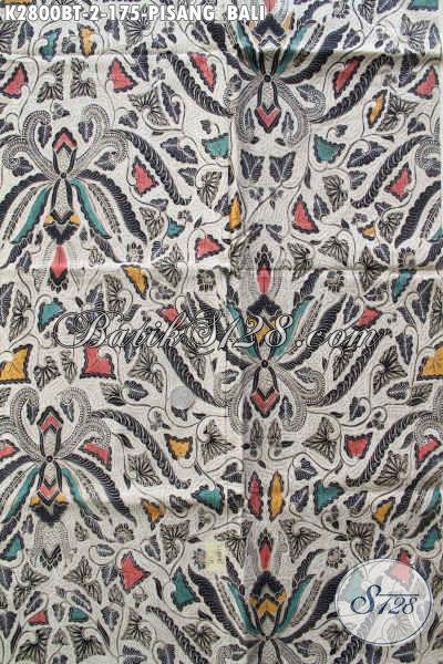 Produk Kain Batik Klasik Terbaru Motif Pisang Bali, Batik Halus Kombinasi Tulis Warna Bagus Pas Untuk Seragam Kerja [K2800BT-240x110cm]
