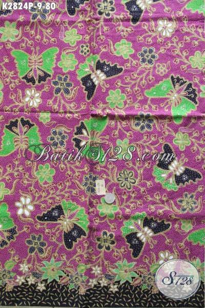 Batik Printing Halus Istimewa Bahan Busana Lengan Panjang, Kain Batik Solo Motif Kupu Dasar Ungu Modis Untuk Baju Wanita [K2824P-240x105cm]