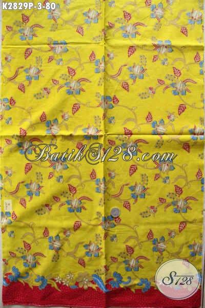 Pusat Batik Online Sedia Kain Batik Halus Dasar Kuning Motif BungaPas Banget Untuk Busana Santai [K2829P-240x105cm]