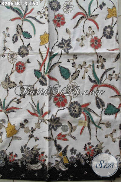 Kain Batik Motif Bunga, Batik Halus Kombinasi Tulis Kwalitas Bagus Buatan Solo Asli Cocok Untuk Busana Wanita [K2861BT-240x110cm]