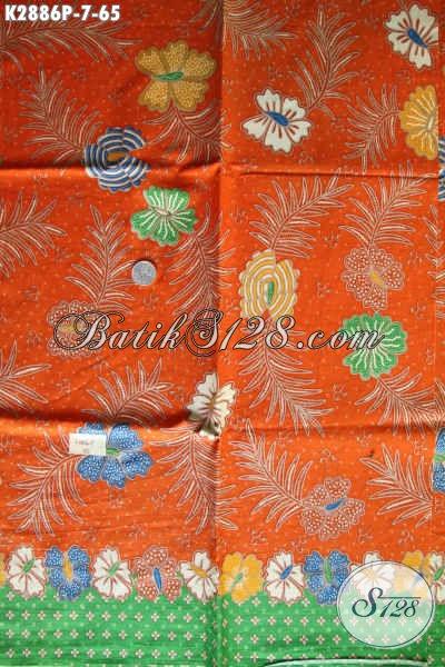 Batik Kain Warna Orange, Batik Printing Solo Istimewa Cocok Untuk Baju Kerja Wanita Karir