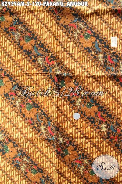 Kain Batik Jarik Halus Buatan Solo, Batik Klasik Kombinasi Tulis Motif Parang Anggur Untuk Penampilan Lebih Berwibawa [K2939AM-240x105cm]
