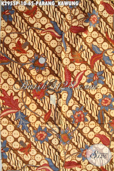 Beli Kain Batik Solo Murah, Batik Bahan Busana Elegan Nan Berkelas Proses Printing Motif Parang Kawung, Penampilan Lebih Istimewa [K2955P-200x110cm]