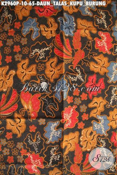 Batik Kain Printing Modern Motif Daun Talas Kupu Burung, Batik Halus Bahan Dress Wanita Muda Tampil Bergaya