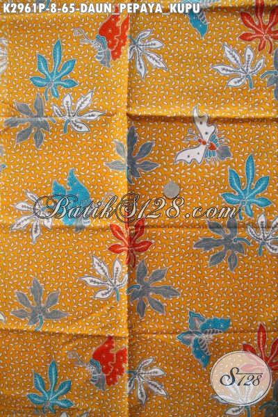 Bisnis Kain Batik Solo Online, Jual Batik Printing Motif Daun Pepaya Kupu Kwalitas Bagus, Pas Banget Untuk Baju Kantor [K2961P-200x110cm]