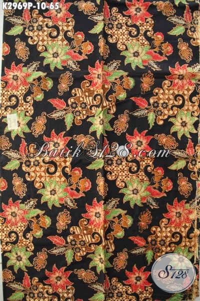 Baitk Printing Halus Motif Bunga Bahan Busana Wanita Blus Maupun Dress, Batik ELegan Dasar Hitam Buatan Solo Harga Terjangkau [K2969P-200x110cm]