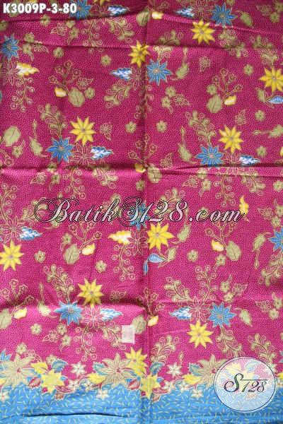 Batik Printing Halus Motif Bunga Dasar Merah, Cocok Untuk Busana Kerja Dan Santai Wanita Harga 80K [K3009P-240x105cm]
