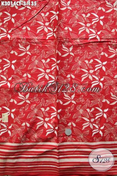 Batik Kain Dasar Merah Nan Mewah, Produk Batik Bahan Pakaian Keren Buat Gaul Proses Cap Tulis Harga 135K [K3014CT-200x115cm]