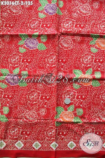 Batik Kain Bahan Baju Kerja Wanita, Batik Halus Motif Bunga Dasar Merah Proses Cap Tulis Buatan Solo Asli Hanya 135K [K3016CT-200x115cm]