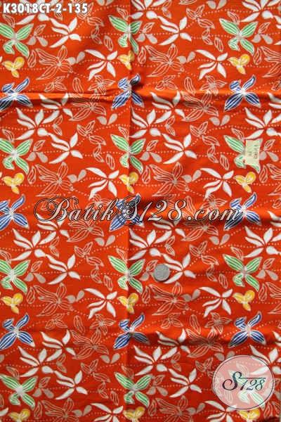 Batik Orange Kwalitas Bagus Proses Cap Tulis Motif Unik Untuk Baju Santai Dan Formal Harga 135K [K3018CT-200x115cm]