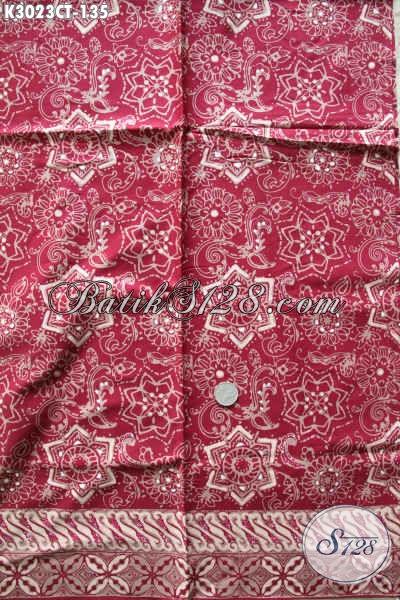 Kain Batik Warna Merah Buatan Solo Proses Cap Tulis Batik Halus