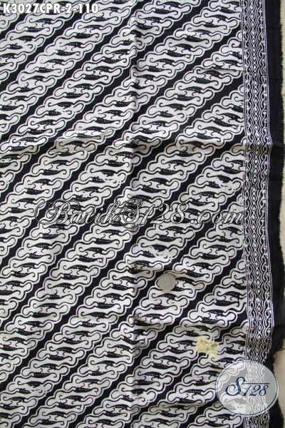 Batik Klasik Monokrom Hitam Putih Bahan Paris, Cocok Untuk Pakaian Formal Proses Cap 100 Ribuan [K3027CPR-180x105cm]