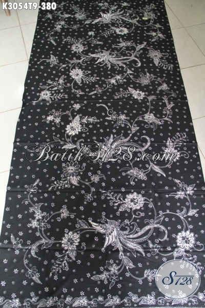 Batik Tulis Elegan Bahan Busana Berkelas, Batik Solo Masa Kini Dasar Hitam Harga 380 Ribu [K3054T-200x110cm]