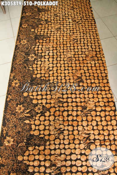Kain Batik Mewah Buatan Solo Proses Tulis Tangan, Batik Istimewa Motif Polkadot Bahan Busana Resmi Nan Berkelas [K3058T-200x110cm]
