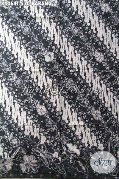Kani Batik Premium Motif Parang Warna Hitam Putih, Batik Tulis Solo Bahan Baju Resmi Penampilaan Berkelas